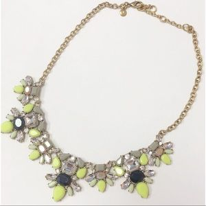 J Crew Statement necklace multi color antique gold